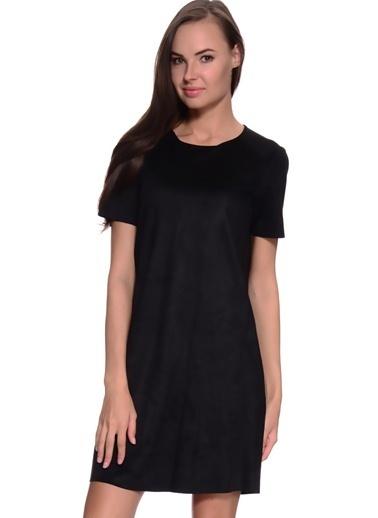 Limon Company O Yaka Kısa Kollu Arkadan Fermuarlı Cepli Standart Fit Kadın Mini Elbise Siyah